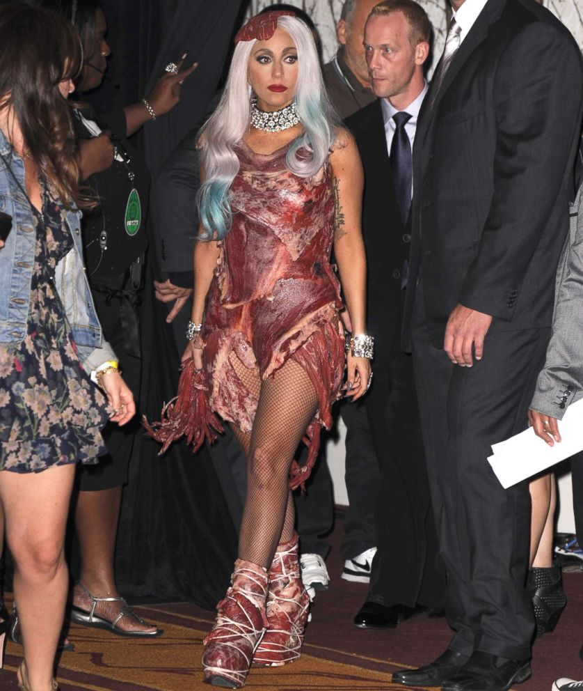 PHOTO: Lady Gaga wears a meat dress at the 2010 MTV Video Music Awards on Sept. 12, 2010, in Los Angeles.