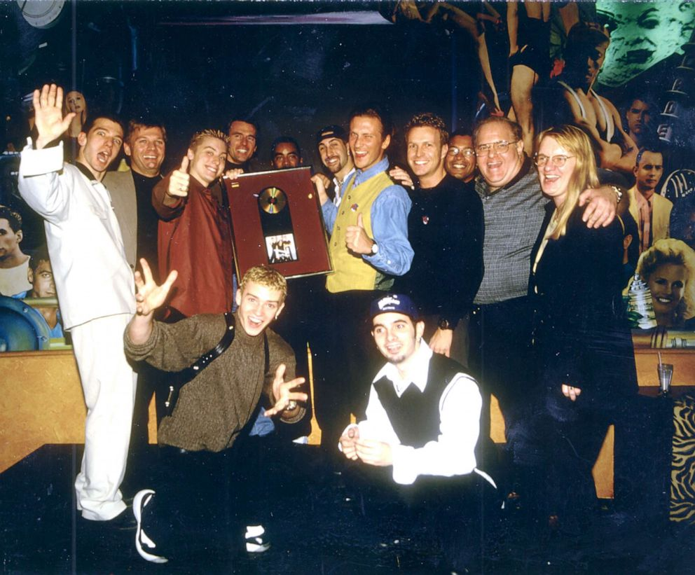 PHOTO: NSYNC pictured with Lou Pearlman at their gold album presentation.