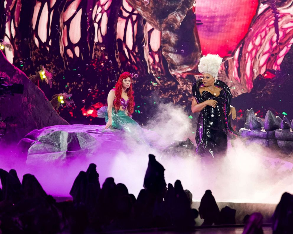 PHOTO: Aulii Cravalho, left, as Ariel, and Queen Latifah, right, as Ursula, perform in the spectacular, live musical event showcasing The Little Mermaid on ABC.