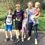 Author Laura Vanderkam and her children on the first day of school 2017.