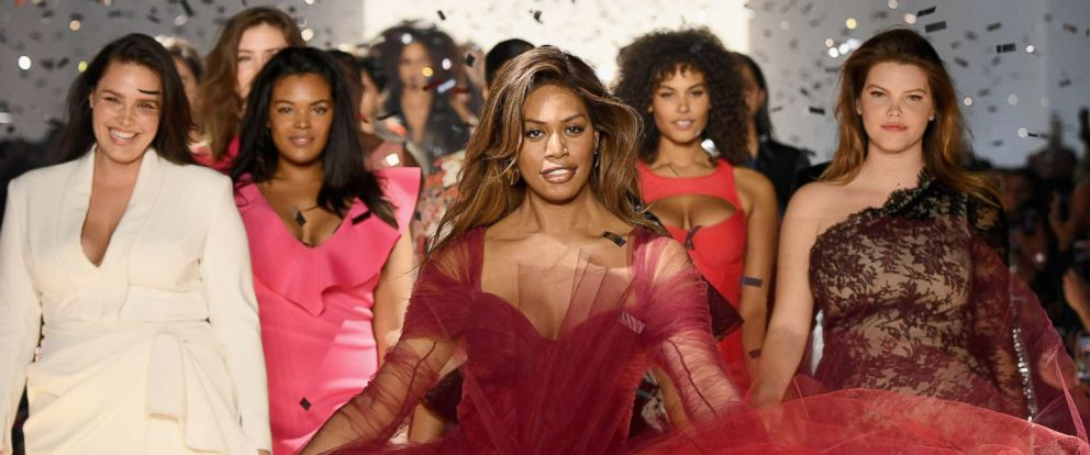 PHOTO: Laverne Cox, center, walks the runway for the 11 Honore fashion show finale during New York Fashion Week, Feb. 6, 2019, in N.Y.
