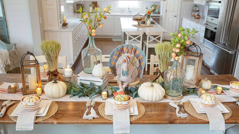 Layer your table with various sizes and shapes and don't forget to add some turkeys for a festive touch!