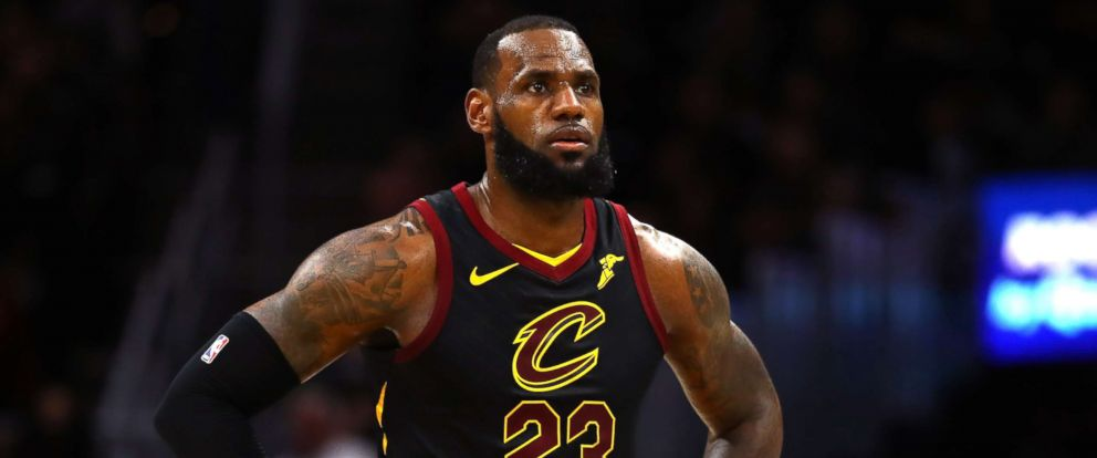 PHOTO: LeBron James #23 of the Cleveland Cavaliers reacts against the Golden State Warriors during the 2018 NBA Finals at Quicken Loans Arena on June 6, 2018 in Cleveland.