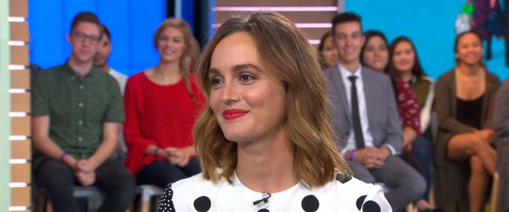 "PHOTO: Leighton Meester appeared on ""Good Morning America,"" Sept. 25, 2018, to chat about her new television series, ""Single Parents,"" airing on ABC."