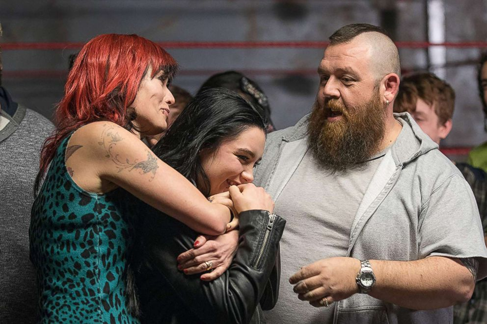 "Nick Frost, Lena Headey, and Florence Pugh appear in ""Fighting with My Family."""