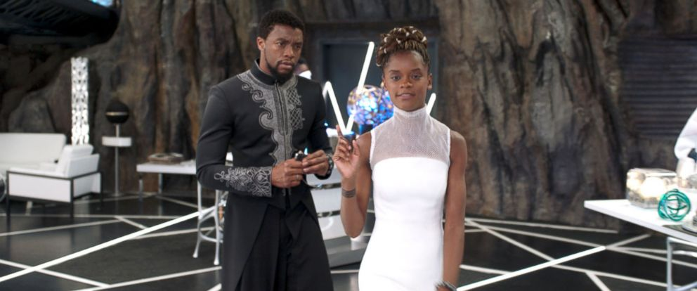 "PHOTO: Chadwick Boseman and Letitia Wright in a scene from ""Black Panther."""