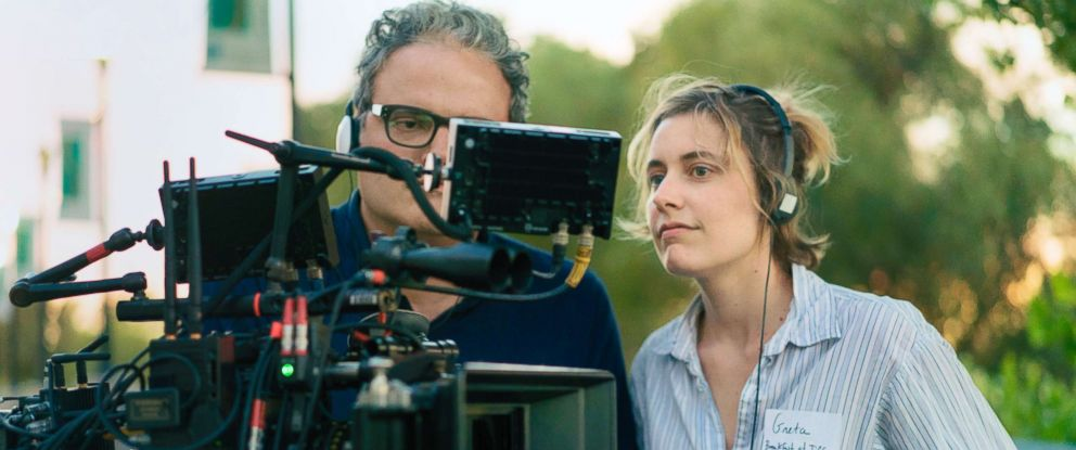 """PHOTO: Sam Levy and Greta Gerwig during the filming of """"Ladybird."""""""