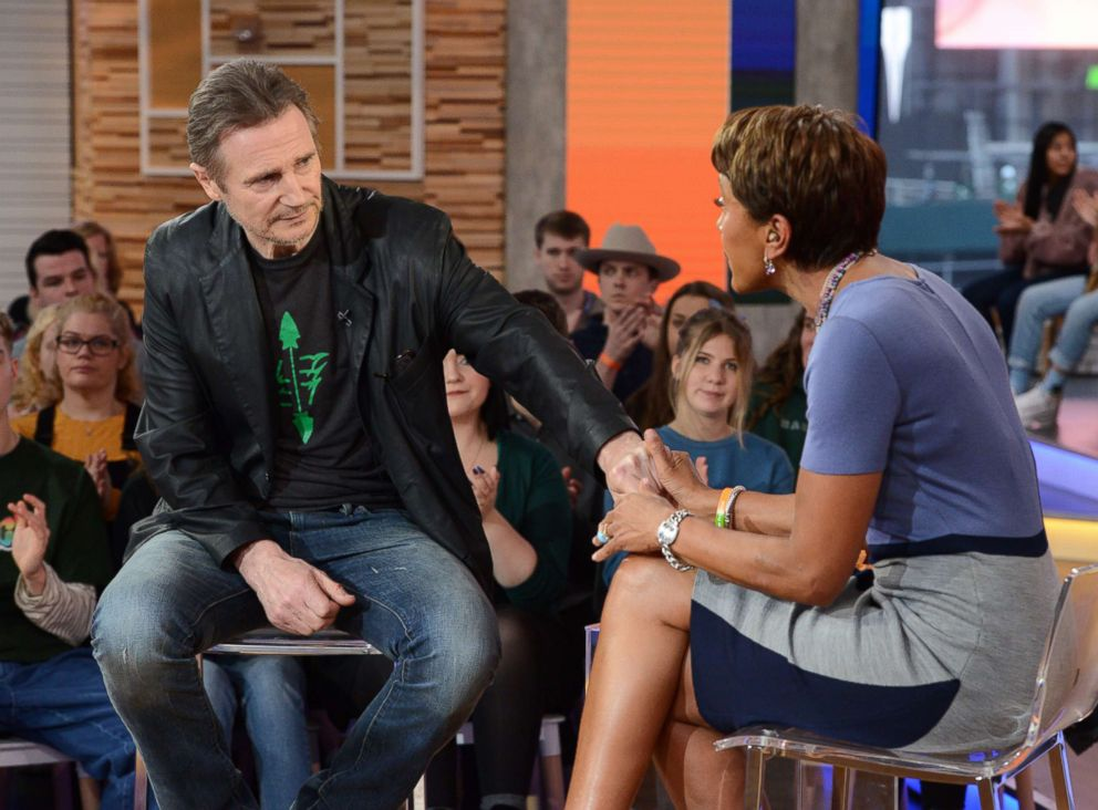 "Liam Neeson appears on ""Good Morning America,"" Feb. 2019."