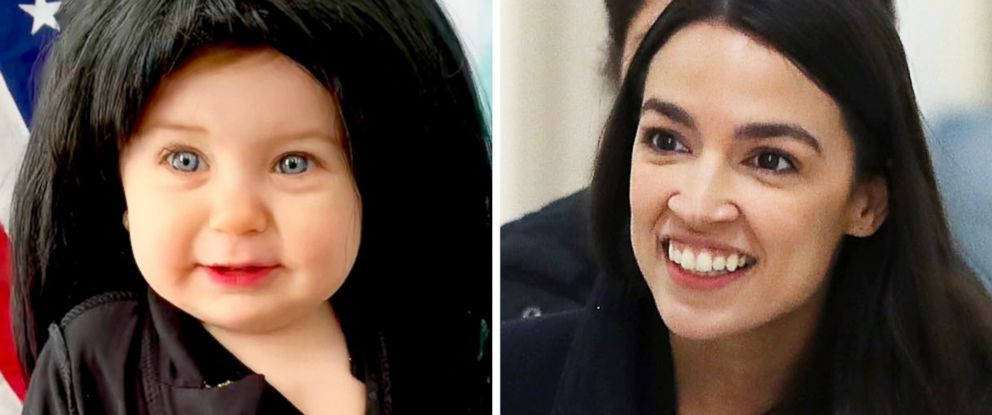 PHOTO: Liberty Wexler, 10 months, is dressed as Rep. Alexandria Ocasio-Cortez, pictured in Washington on the right, for Womens History Month in March 2019.