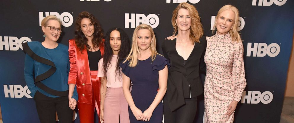 """PHOTO: Meryl Streep, Shailene Woodley, Zoe Kravitz, Reese Witherspoon, Laura Dern and Nicole Kidman are seen prior to the """"Big Little Lies"""" panel of the HBO portion of the 2019 Winter TCA, Feb. 8, 2019, in Pasadena, Calif."""