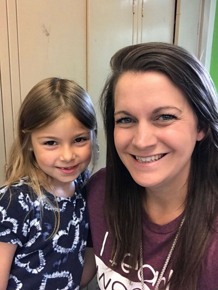 PHOTO: Lily Sciulli, 7, a first grade student at Burchfield Elementary School, is seen with her teacher, Mrs. Laura Roth, in this undated photo.