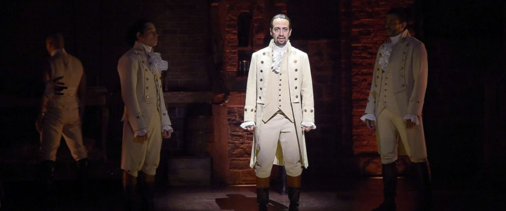 "PHOTO: In this file photo, actor, composer Lin-Manuel Miranda performs on stage during ""Hamilton"" GRAMMY performance for The 58th GRAMMY Awards at Richard Rodgers Theater, Feb. 15, 2016, in New York City."