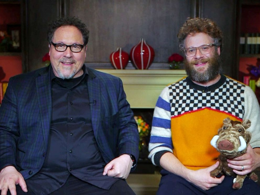 PHOTO: The Lion King director Jon Favreau and Seth Rogen, who voices Pumbaa, talk to GMA about the latest Disney film.