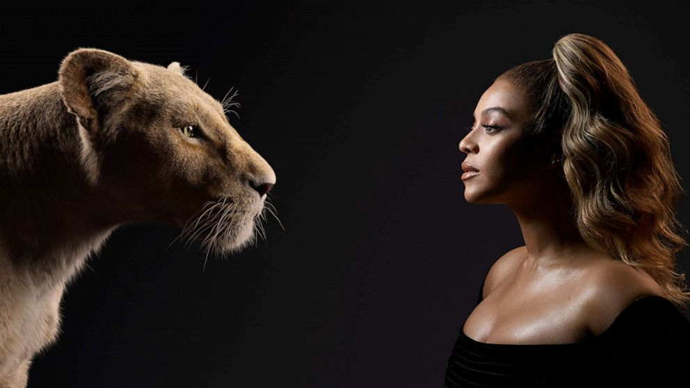 PHOTO: Beyonce Knowles-Carter appears beside her Lion King character, Nala.