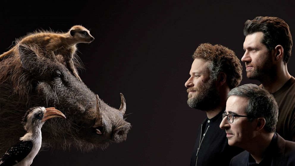 PHOTO: From top to bottom; Billy Eichner, Seth Rogen and John Oliver appear beside their Lion King characters, Timon, Pumbaa and Zazu.
