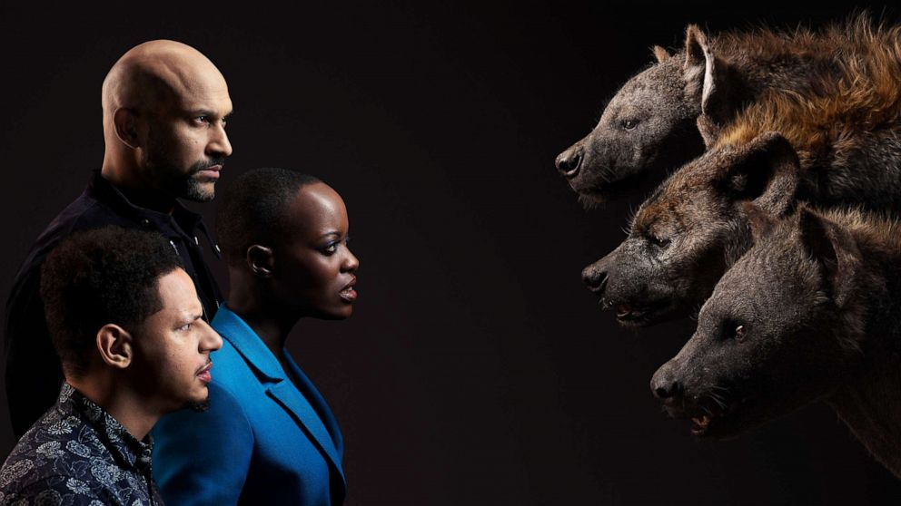 PHOTO: From top to bottom; Keegan-Michael Key, Florence Kasumba and Eric Andre appear beside their Lion King characters, Kamari, Shenzi and Azizi, respectfully.