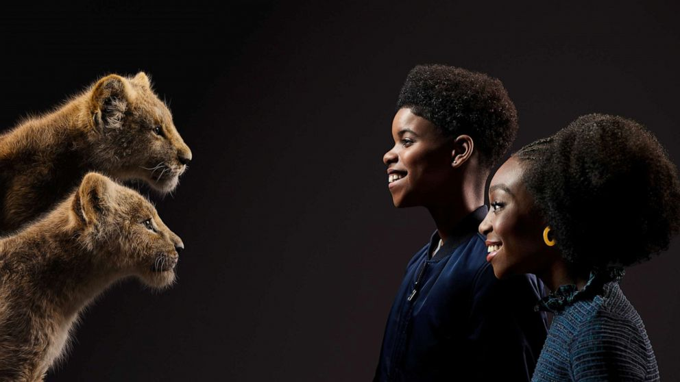 PHOTO: From top to bottom; JD McCrary and Shahadi Wright Joseph appear beside their Lion King characters, Simba and Nala, respectfully.