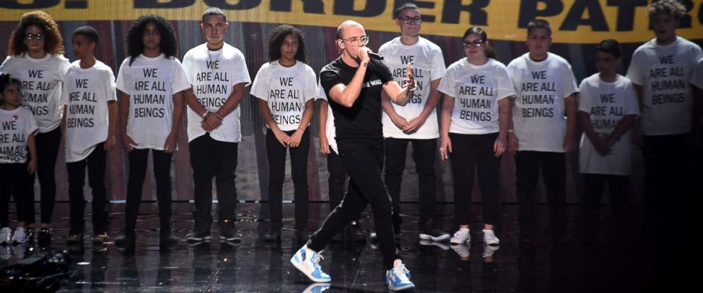 PHOTO: Logic performs onstage during the 2018 MTV Video Music Awards at Radio City Music Hall on August 20, 2018, in New York City.