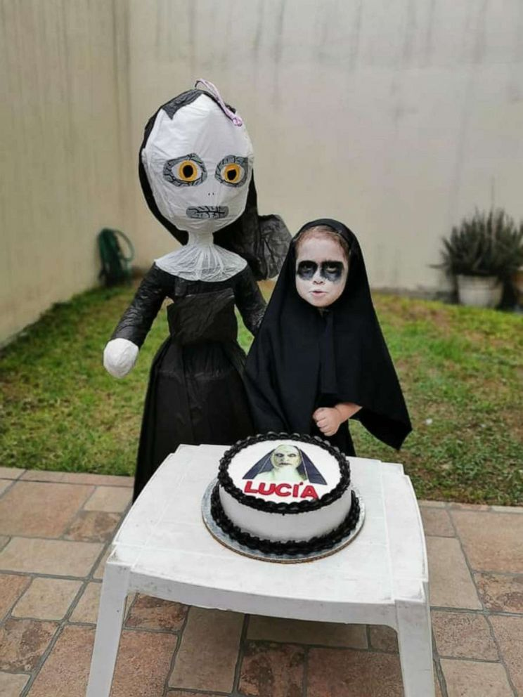 PHOTO: Lucia Brown with her birthday cake at her scary nun-themed party.