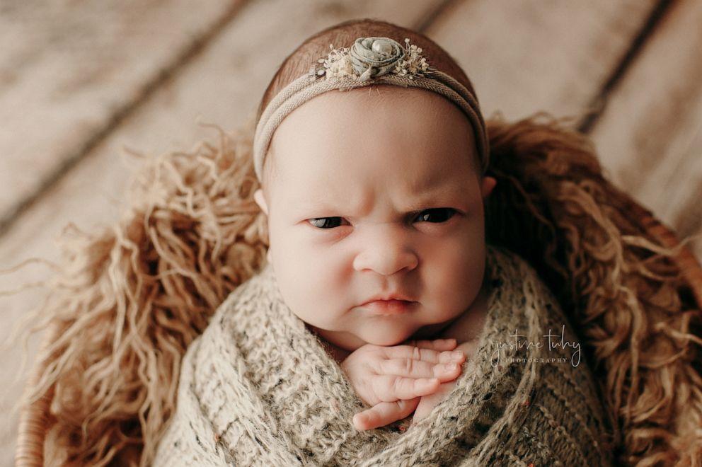 PHOTO: Luna, a 2-week-old newborn, poses for her newborn photo shoot on Dec. 2, 2019.
