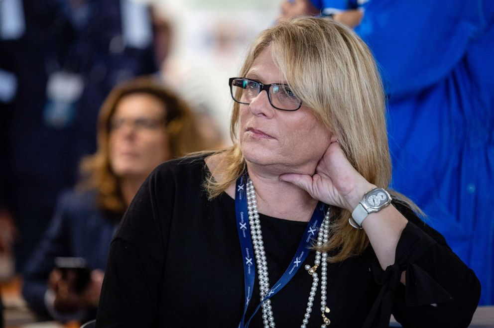 PHOTO: Lisa Lutoff-Perlo, chief executive officer of Celebrity Cruises Inc., listens during a presentation aboard the Celebrity Edge cruise ship, during a press tour in Saint Nazaire, France, Sept. 12, 2018.