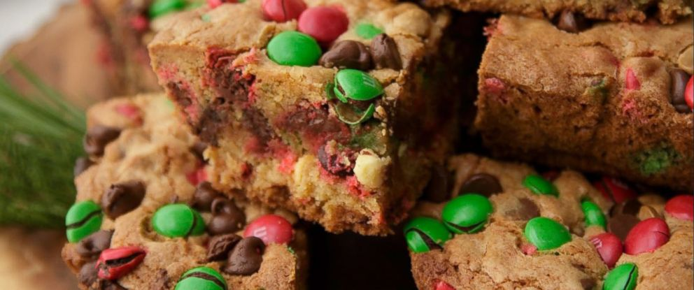 PHOTO: Pinterests most-pinned cookie of all-time, M&M Christmas Cookie bars, are photographed here.