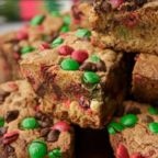 Pinterest's most-pinned cookie of all-time, M&M Christmas Cookie bars, are photographed here.