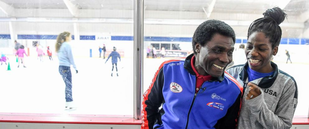 PHOTO:Maame Biney, 17-year old short track speed skater from Reston, laughs with her dad, Kweku Biney, during an interview in this Dec. 22, 2017 file photo.