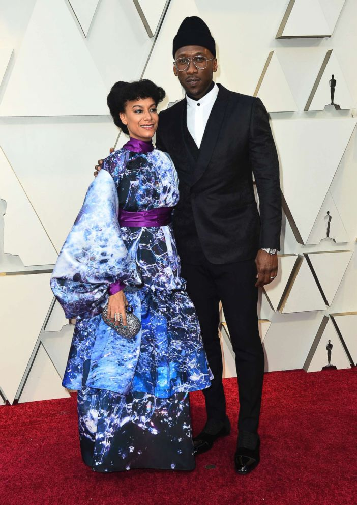 PHOTO: Amatus Sami-Karim and Mahershala Ali arrive at the Oscars, Feb. 24, 2019, at the Dolby Theatre in Los Angeles.