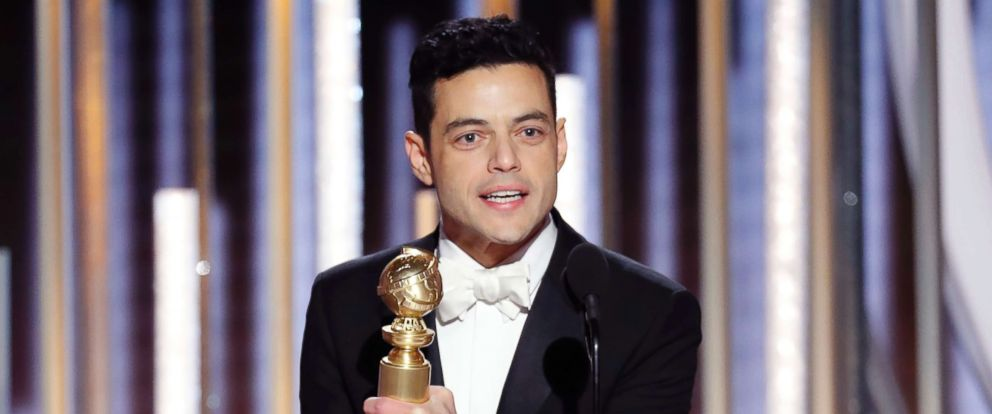 """PHOTO: Rami Malek accepts the award for Best Actor in a Motion Picture Drama for his role as Freddie Mercury in """"Bohemian Rhapsody"""" during the 76th Annual Golden Globe Awards, Jan. 6, 2019, in Beverly Hills, Calif."""