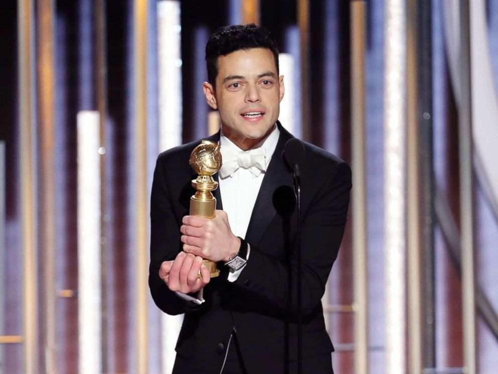 PHOTO: Rami Malek accepts the award for Best Actor in a Motion Picture Drama for his role as Freddie Mercury in Bohemian Rhapsody during the 76th Annual Golden Globe Awards, Jan. 6, 2019, in Beverly Hills, Calif.