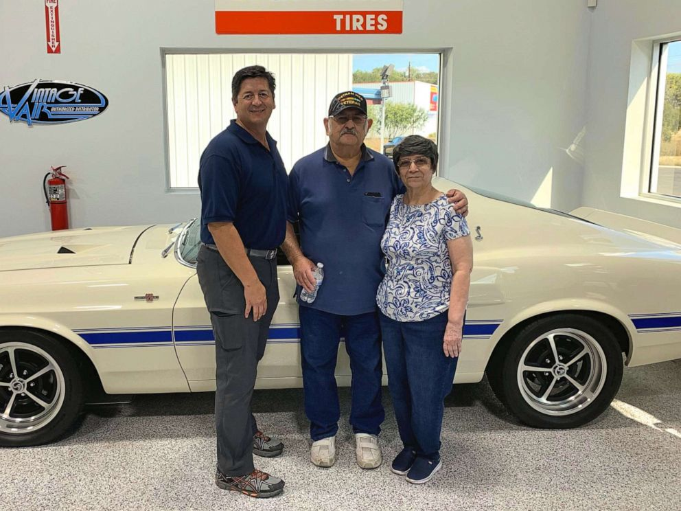 PHOTO: Rudy Quinones, owner of Renown Auto Restoration in San Antonio, is seen in a recent photo with Albert Brigas and his wife wife of 44 years, Sylvia Brigas.