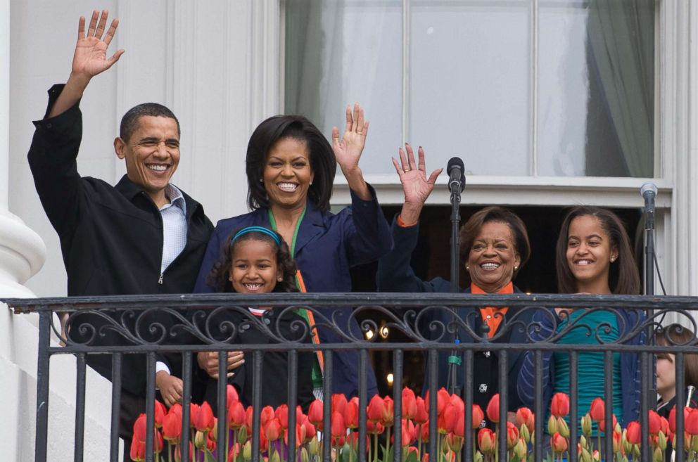 PHOTO: President Barack Obama waves alongside First Lady Michelle Obama, their daughters Sasha and Malia and Marian Robinson, Michelles mother, during the annual White House Easter Egg Roll in Washington, April 13, 2009.
