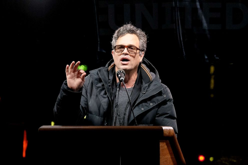 PHOTO: Mark Ruffalo speaks onstage during the We Stand United New York City rally outside Trump International Hotel, Jan. 19, 2017.