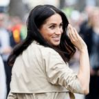 Meghan Markle, Duchess of Sussex waives to members of the public, Oct. 18, 2018, in Melbourne, Australia.