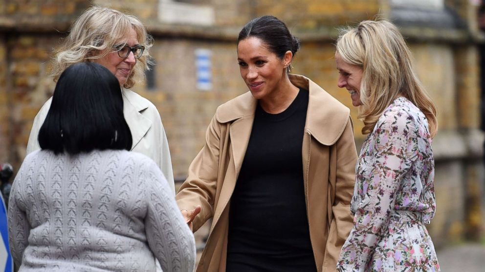 Meghan Markle, Duchess of Sussex arrives at St Charles hospital in west London to visit Smart Works, a charity to which she has become patron, Jan. 10, 2019.