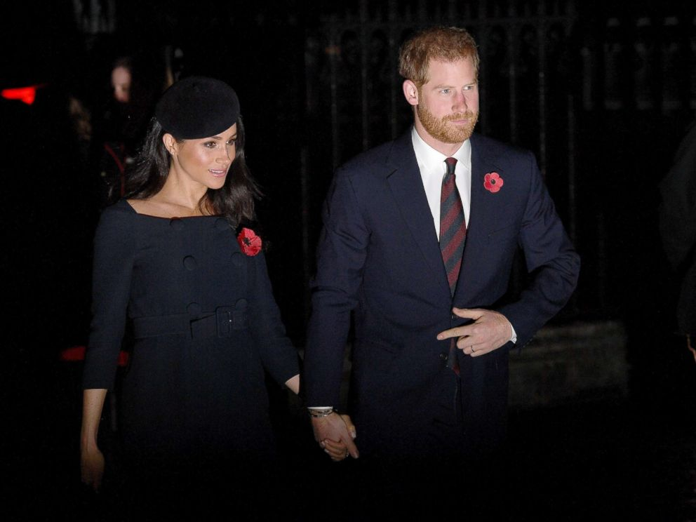 PHOTO: Meghan Markle, Duchess of Sussex and Prince Harry, Duke of Sussex attend a service marking the centenary of WW1 armistice at Westminster Abbey, Nov. 11, 2018, in London.