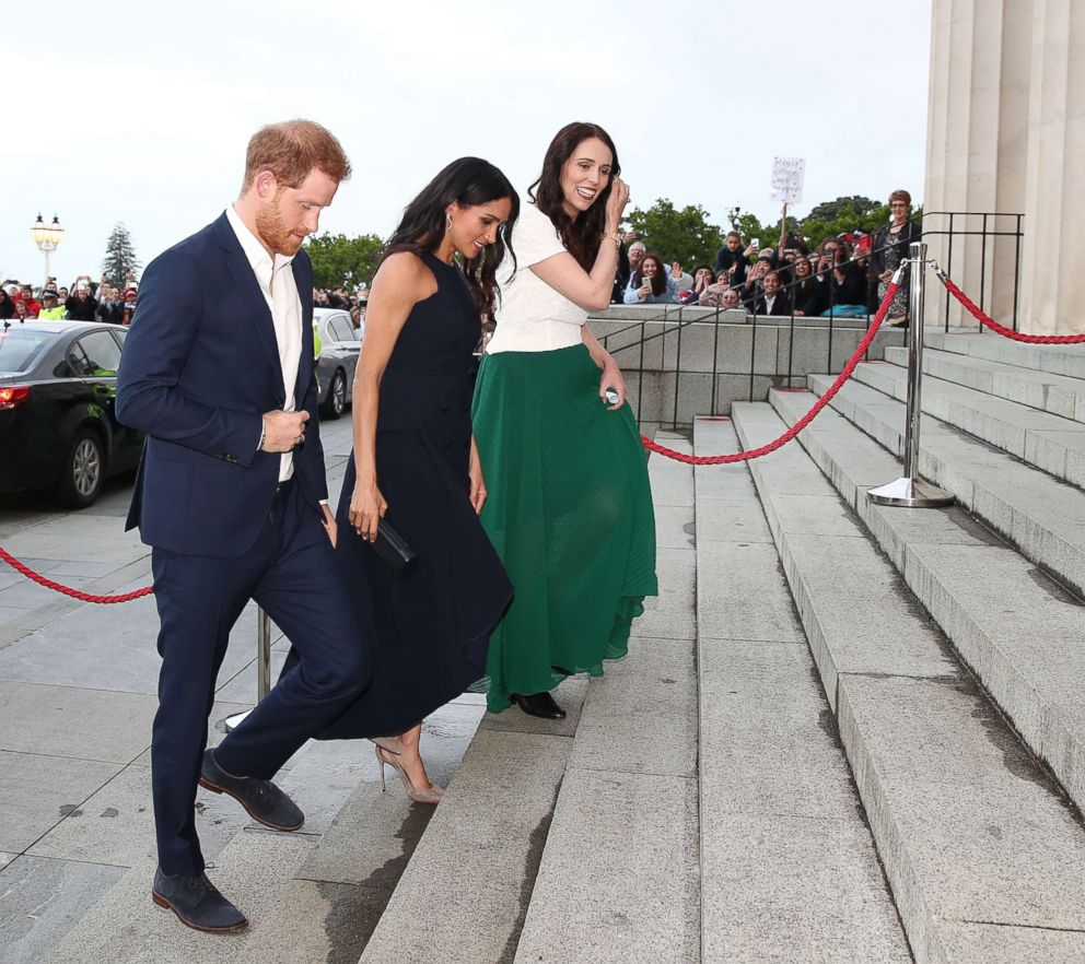 PHOTO: Prince Harry, Duke of Sussex and Meghan Markle, Duchess of Sussex arrive for Prime Minister Jacinda Arderns right, reception at Auckland War Memorial Museum, Oct. 30, 2018, in Auckland, New Zealand.