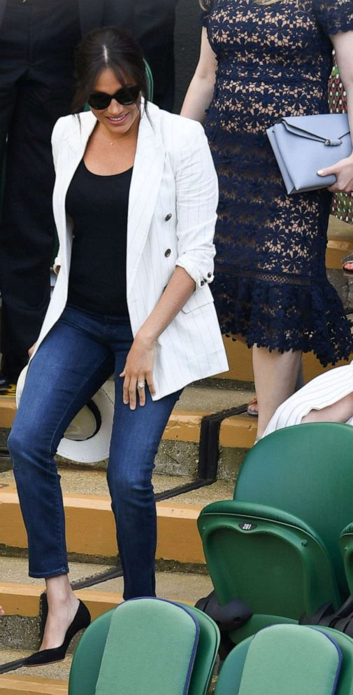 PHOTO: Meghan Duchess of Sussex at the Wimbledon Tennis Championships at The All England Lawn Tennis and Croquet Club in London, July 4, 2019.
