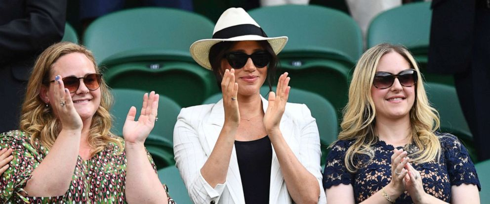 PHOTO: Meghan Duchess of Sussex celebrates the win of Serena Williams at the Wimbledon Tennis Championships at The All England Lawn Tennis and Croquet Club, London, July 4, 2019.