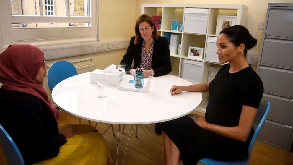 Meghan Markle, the Duchess of Sussex, does an interview preparation with Ruma Parvin during her visit at Smart Works charity in West London, Jan. 10, 2019.