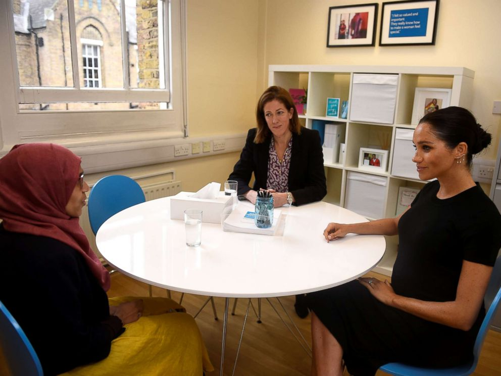 PHOTO: Meghan Markle, the Duchess of Sussex, does an interview preparation with Ruma Parvin during her visit at Smart Works charity in West London, Jan. 10, 2019.