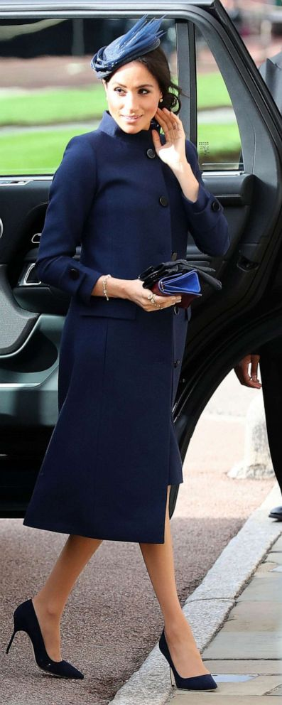 PHOTO: Britains Meghan, Duchess of Sussex arrive to attend the wedding of Britains Princess Eugenie of York to Jack Brooksbank at St Georges Chapel, Windsor Castle, in Windsor, Oct. 12, 2018.