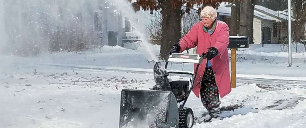 PHOTO: 82-year-old Marlene Fisher Downing was spotted using her snow blower in the freezing cold in Muskegon, Mich., Jan. 19, 2019.