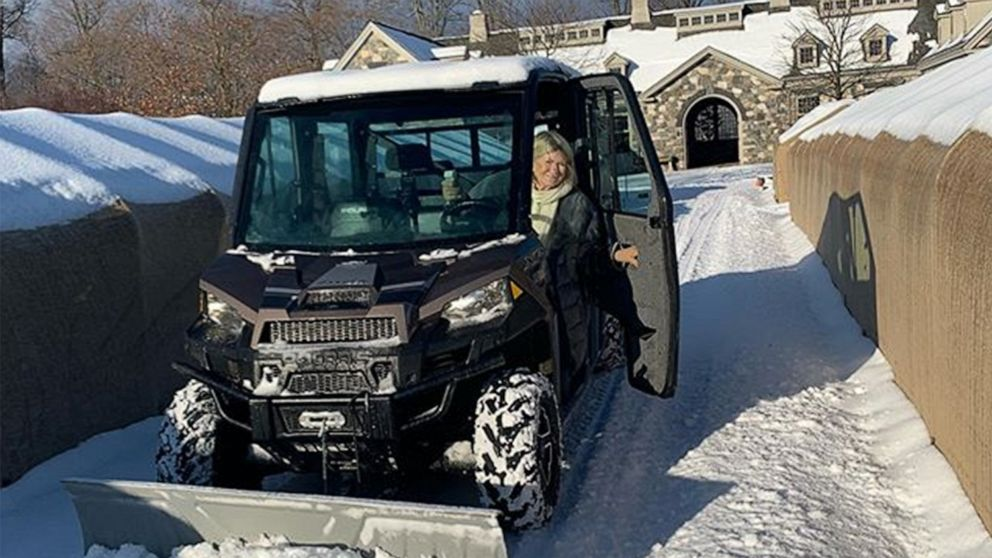 Martha Stewart spends almost 3 hours plowing 4 miles of roads