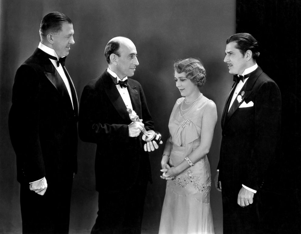 PHOTO: From left; writer Hanns Kraly, President of the Academy of Motion Picture Arts and Sciences William C. DeMille, actress Mary Pickford and actor Warner Baxter attend the Oscars in Hollywood, Calif., April 4, 1930.