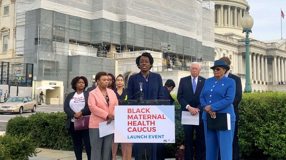 Rep. Lauren Underwood, D-Ill.,speaks at the launch of the Black Maternal Health Caucus in Washington. D.C.