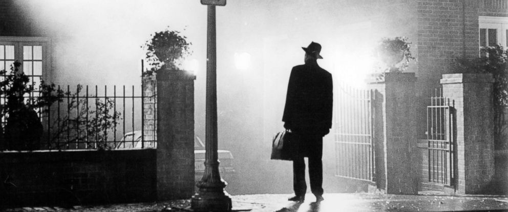 PHOTO: Max Von Sydow stands in front of home in yard entrance in a scene from the film The Exorcist, 1973.