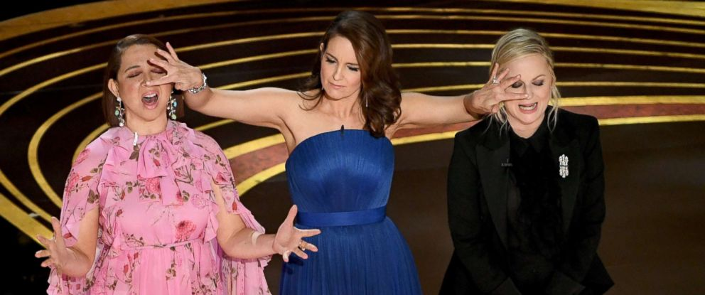 PHOTO: From left, Maya Rudolph, Tina Fey, and Amy Poehler speak onstage during the 91st Annual Academy Awards at Dolby Theatre, Feb. 24, 2019 in Hollywood, Calif.