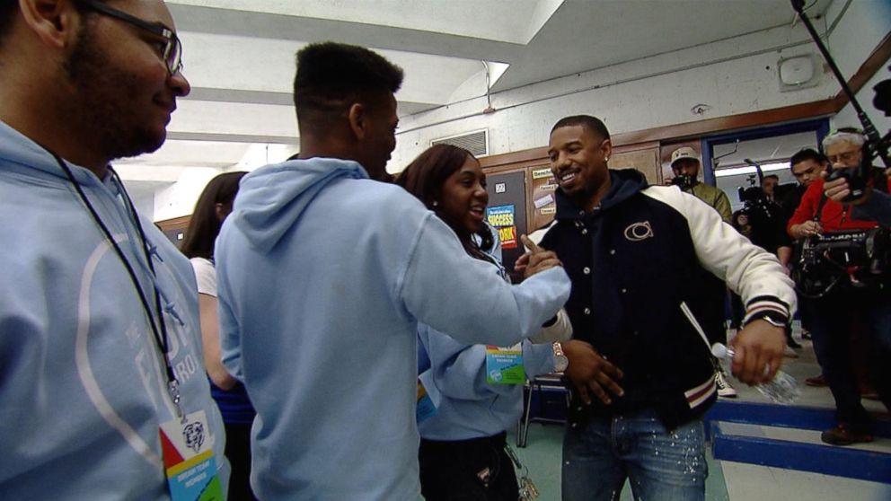 Michael B. Jordan surprised high school students in his hometown of Newark, N.J.